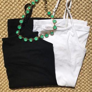 Set of black and white cami with shelf bra.